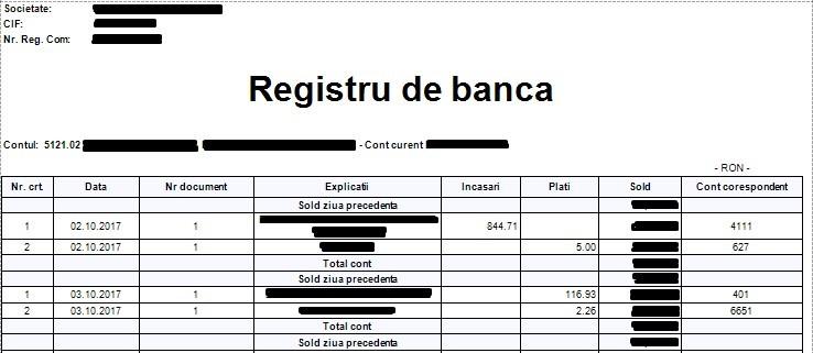 Registrul de banca – document de evidenta a tranzactiilor